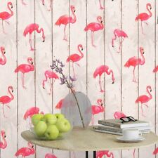 RASCH BARBARA BECKER FLAMINGO WALLPAPER - WHITE 479720 WOOD PANEL