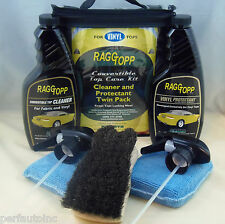 RAGGTOPP VINYL PROTECTANT CLEANER KIT HORSE HAIR CONVERTIBLE BRUSH 2 MICROFIBERS