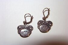 Mothers Day~MK~Sterling Silver HAPPY GIRL Smiley Face Whimsical Dangle Earrings