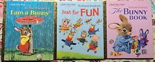 Lot of 3 Little Golden Books: Bunny Book, I am a Bunny, Just for Fun NEW HC