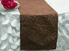 "Chocolate Brown LEOPARD TABLE RUNNER 12 x 108"" ANIMAL SAFARI JUNGLE Wedding SALE"