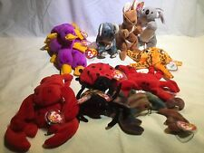 MWMT Beanie Babies lot#12 13 critters: Claud Digger Lucky Pouch Spinner Wish Zip
