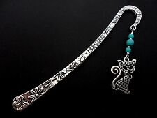 A TIBETAN SILVER  CAT & TURQUOISE  BEAD   BOOKMARK. NEW.