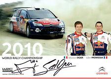 Sebastien OGIER & Julien INGRASSIA SIGNED AUTOGRAPH 12x8 WRC 2010 Card AFTAL COA