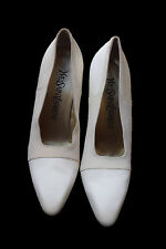 Yves Saint Laurent YSL Womens White Leather Dyeable Heels Shoes Wedding Size 5