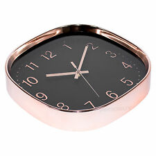 38cm Square Copper Rose Gold Black Wall Clock Large Kitchen Decor Quartz Modern