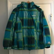 Zero Xposur Jrs Size XL 16 Snow Boarding Blue Green Plaid Jacket Coat Hood