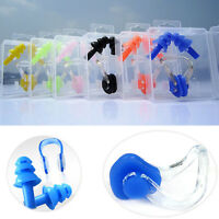 Diving Swimming Ear Plugs And Nose Clip Set With Box For Kids Adults Candy-color