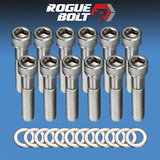 "SBC EXHAUST MANIFOLD BOLTS ""LOG STYLE"" STAINLESS SMALL BLOCK CHEVY 283 327 350"
