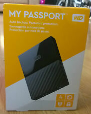 WD 4TB My Passport Portable Hard Drive Auto Backup Password Protection - Black