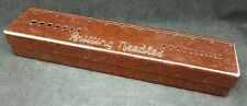 Vintage Mottled Brown Bakelite Knitting Needle Gauge, Box & Ruler, Bex Brand