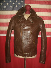 Superb Vintage  BROOKS  Motorcycle Brando Cruiser Leather Jacket .Size 34 .TALON