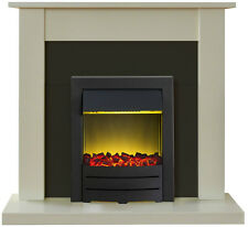 ELECTRIC BLACK SURROUND MODERN LED 2KW FLAME FIRE CHEAP SMALL FIREPLACE SUITE