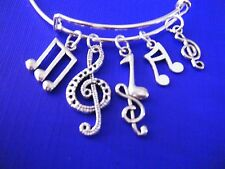 FREE GIFT**EXPANDABLE BRACELET WITH ANTIQUED SILVER CHARMS**Musical Notes