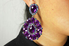PURPLE +AB CRYSTAL RHINESTONES NEW CLIP ON EARRINGS CHANDELIER BRIDAL PROM PARTY