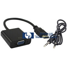 New 1080P HDMI Male to VGA Female Video Converter Adapter + 3.5mm Audio Cable