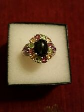 Indian Black Star Diopside & Multi Gemstone Ring in Sterling Silver- Size 10