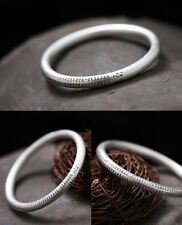 Wrist Gift 925 Sterling Silver 7mm Hollow Bangle with The Heart Sutra Size 60mm