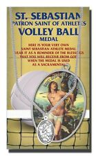 Volleyball Silver tone medal with chain, Patron Saint of athletes St Sebastian