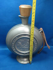 "9.5""Rare Antique West Germany Pewter Embossed & Engraved Bottle-Flask w/ Stopper"