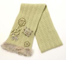 Oscar de la Renta Sage Cable Knit Jeweled Fox Fur Trim Scarf