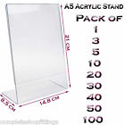 New A5 Acrylic Portrait Poster Menu Holder Perspex Leaflet Display Stands