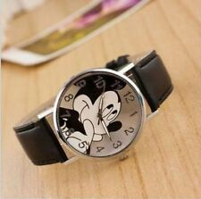 Cartoon Mickey Mouse Leather Wrist Watch Lady Girl Women Teens Kids Watches