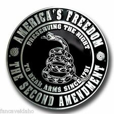 """America's Freedom The Second Amendment 12"""" Embossed Metal Circle Sign - CS60118"""