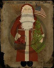 Primitive Santa Claus Belsnickle Americana American Flag Feather Tree Print 8x10