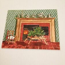 Vintage Greeting Card Christmas Kristin Elliott Fireplace Cat Chair