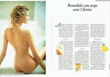 PUBLICITE ADVERTISING 016  1996  Clarins cosmétiques ( 2p) modelage corps seins
