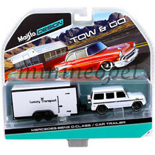 MAISTO 15368 K TOW & GO MERCEDES BENZ G CLASS & CAR TRAILER 1/64 DIECAST WHITE
