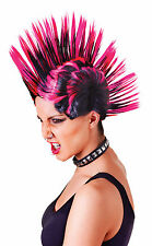 PUNK ROCK MOHICAN WIG FEMALE PINK / BLACK FANCY DRESS COSTUME ACCESSORY