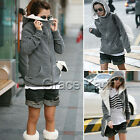 Korean Womens Winter Warm Long Coats Fleece Hooded Hoodies Sweatshirts S M L XL