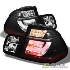 Black 2002-2005 BMW E46 3-Series 4Dr Sedan Lumileds LED Tail Lights w/ LED Strip