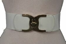 NEW WOMEN HIP HIGH WAIST ELASTIC WHITE FAUX LEATHER FASHION BELT GOLD BUCKLE M L