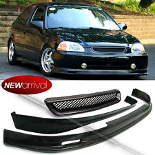 Fit 96-98 Civic Hatchback Mu Style PU Front Rear Bumper Lip + ABS Grill Grille