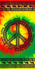Tie Dye Tribal Rasta Love Peace Souvenir Velour Beach Towel (30x60)