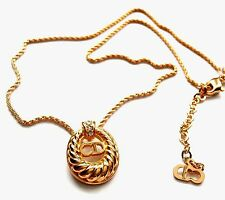 Signed Christian Dior Necklace Gold Plated CD Symbol Pendant 8 gr New