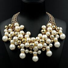 New Fashion 18K Gold GP White Pearl Chain Cluster Bib Statement Necklace 08112