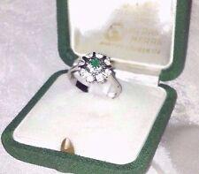 Smaragd& Edelstein Ring mit altem Schmuck Etui grün 800 Silber Stein Punze*641VI