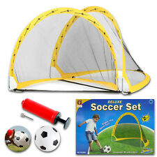 2 PCS KIDS CHILD FOOTBALL SOCCER GOALS POST NET BALL PUMP SET TOY INDOOR OUTDOOR