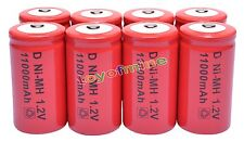 8x D size 1.2V 13000mAh Ni-MH Red Color Rechargeable Battery USA