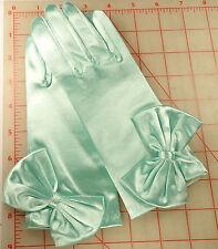 Miss D's Favorite Garden Work Gloves Wedding Prom Stretch Satin Mint Green wbow
