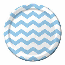 """8 Pastel Blue White Chevron ZigZag Birthday Party Large 9"""" Paper Lunch Plates"""