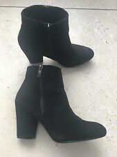 "River Island Womens Black Ankle Boots UK5 Suede NEW 3.5""  Heeled Zip Up"