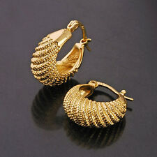 "Amazing 9K Gold Filled""caterpillar"" Ladies Hoop Earrings Age 25-75,Z566"