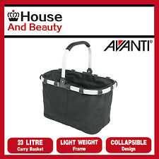 AVANTI Enviro Collapsible Carry Basket 23 Litre Black, Lightweight frame, 16911
