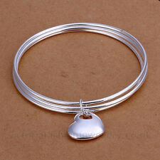 TRIPLE BANGLE WITH HEART CHARM, Sterling Silver Plate, 65mm Diameter, Bracelet
