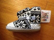Muk Luks Kids Slippers, Black Snowflake, Size 18-24 months, new with tags